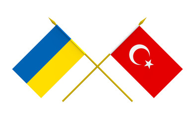 Flags, Ukraine and Turkey