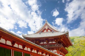 Japan, Nara Todai-ji temple red roof on May 18, 2014