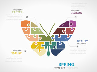 Spring concept infographic template with butterfly