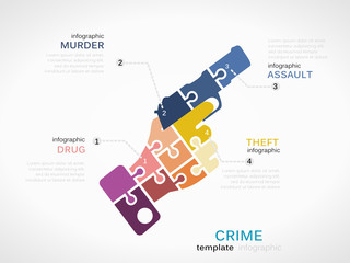 Crime concept infographic template with gun