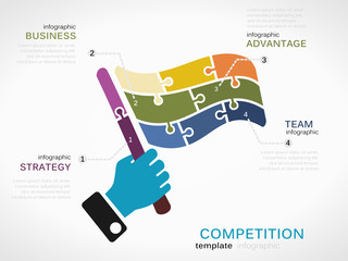 Competition concept infographic template with race