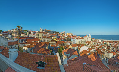panoramic view of lisbon old town in Portugal, Europe, with tejo
