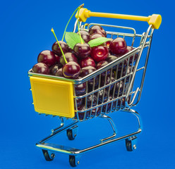 Shopping cart with fresh cherries on a blue