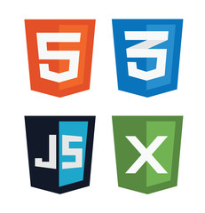 vector illustration of web shields, illustrating html5 icon, css