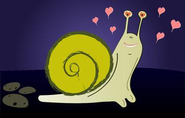 Loving pretty snail on a dark background