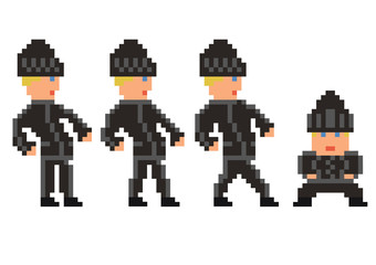 pixel art set of bandit in black clothes walking sprite, four fr