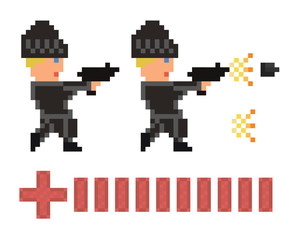 pixel art set of bandit in black clothes and hat shooting  gun a