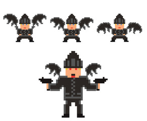 pixel art set of evil flying person in black clothses and hat, w