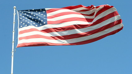 american flag on the blue sky, independence, america