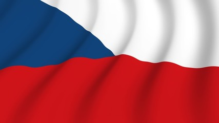 Waving national flag of Czechia