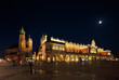 A night view of the Market Square in Krakow, Poland