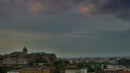 Buda castle and Budapest skyline time lapse