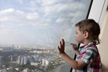 Kid looking at Moscow