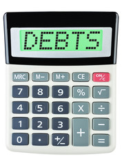 Calculator with Debts on display isolated on white background