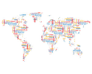 World map with business words