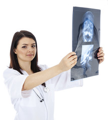 beautiful woman doctor with x-ray