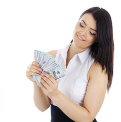 business woman with cash in hand