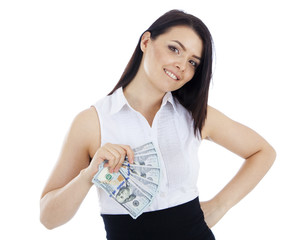 Smiling business woman with cash in hand.