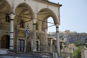 The mosque and the Acropolis from Monastiraki in Athens, Greece