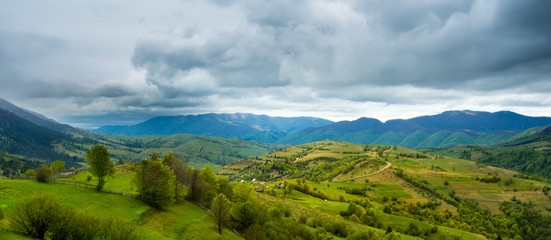 green fields and hills in the Transcarpathian mountains
