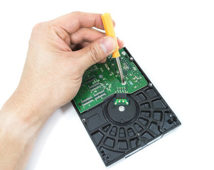 hand with screwdriver repairing hard drive or hard disc