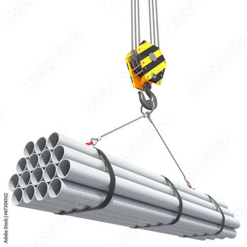 Crane hook lifts group of pipes. - 67304362