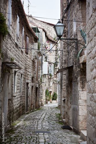 Old Stone Narrow Streets of Trogir, Croatia