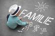 Leinwanddruck Bild - Kinderzeichnung - Familie