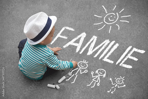 Leinwanddruck Bild Kinderzeichnung - Familie