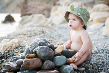 cute toddler on the beach