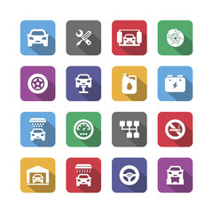Colored auto service icons with shadow,