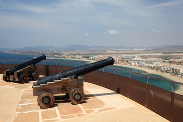 Ancient cannons on top of fortress in Aguilas, Spain