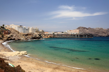 Beach in Mediterranean town Aguilas, Spain