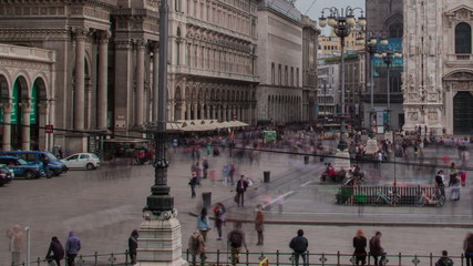 Milan,  streets and Piazza Duomo time lapse  tracking