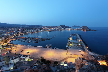 Mediterranean town Aguilas at night. Murcia, Spain