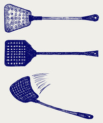 Fly swatter. Doodle style