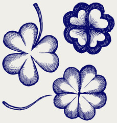 Set of hand drawn clovers. St. Patrick's day