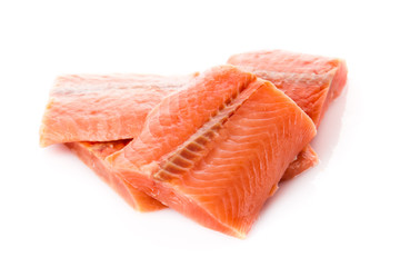 Salmon fillet isolated on white.