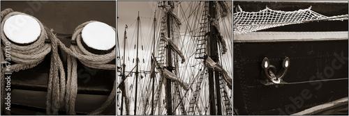 Collage mit Fotos von Details von tradtionellen Segelschiffen Ha