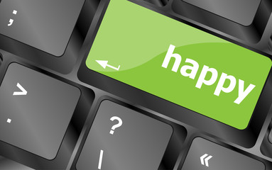happy word on computer pc keyboard key
