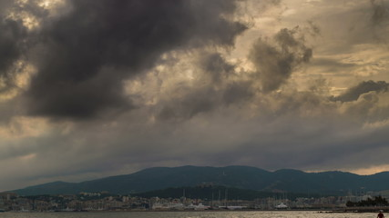 Palma de Mallorca clouds rolling over port