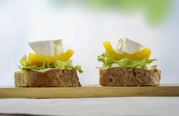 Appetizers of wholemeal bread with cheese and pepper salad