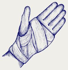 Hand tied elastic bandage. Doodle style