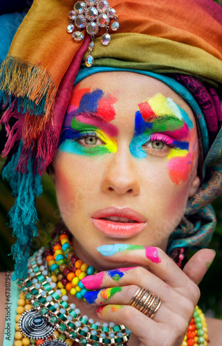 canvas print picture beautiful, lush makeup on beautiful girl