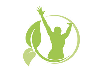 leaf  healthy body  mind wellness fitness logo