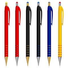 vector set of pens of different colors
