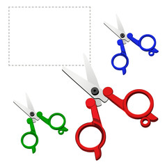 vector colorful scissors on a white background