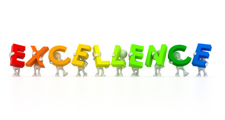 Team holding Excellence word