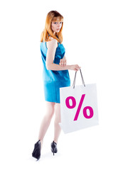 Studio shot of beautiful girl is in fashion style  with shopping