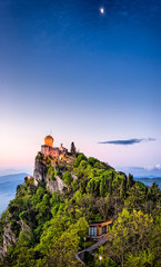 San Marino Castle on a Hill at Sunrise